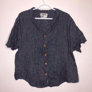 FLAX | 100% Linen Blue ButtonUp Short Sleeve Shirt